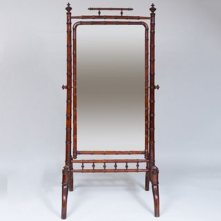 Faux Bamboo Stained Wood Cheval Mirror