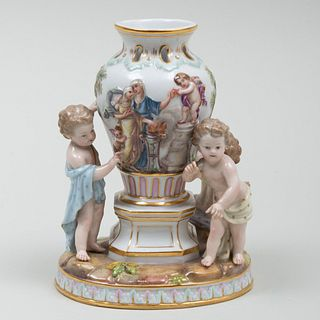 Meissen Porcelain Figure Group of Putti and a Classical Vase