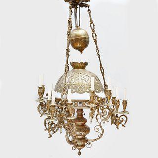 Napoleon III Gilt-Bronze, Metal and Glass Fifteen Light Chandelier