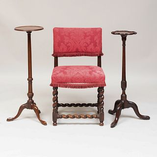 Charles II Padouk Back Stool and Chinese Export Padouk Candlestand