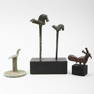 Anatolian Bronze Stamp with Bird Finial, Two Luristan Bronze Horse Pins, and an Early Islamic Bronze Bird Ornament