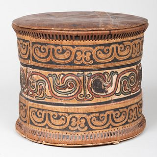 Ethnographic Polychrome Decorated Bark and Rattan Box