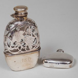 American Silver Overlay and Glass Flask and an English Scent Bottle