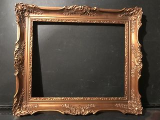 Vintage Gold Medium Wood with Plaster Picture or Mirror Frame, 20th C