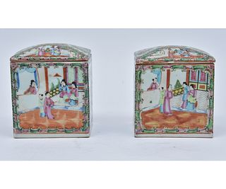 Large Pair Rose Medallion Porcelain Cannisters