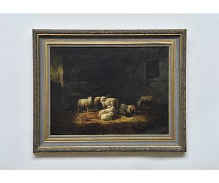 Oil on Canvas Sheep and Chickens