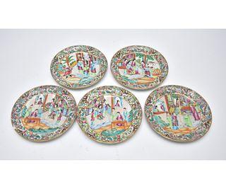 Five Large Rose Mandarin Plates