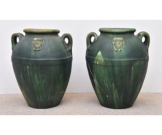 Massive Pair of Green Glazed Pottery Urns