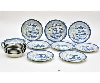 Nine Canton Porcelain Plates etc.