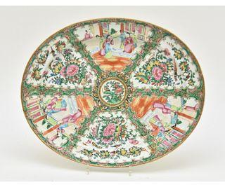 Large Rose Medallion Oval Platter