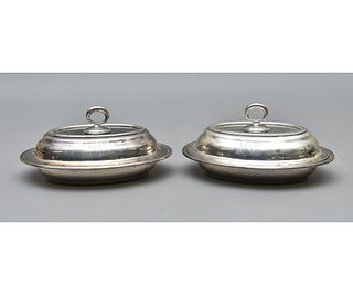 Pair of Sterling Silver covered Vegetable Dishes