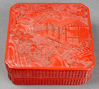 Chinese Carved Cinnabar Lacquer Square Box