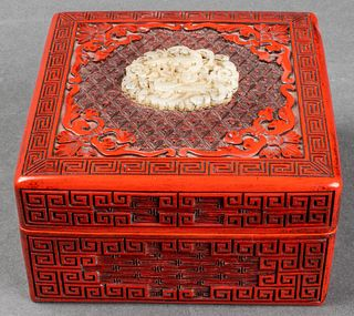 Chinese White Jade Over Lacquer Square Box