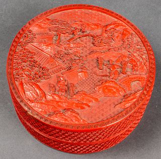 Chinese Carved Cinnabar Lacquer Round Box