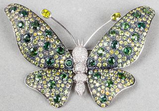 18K White Gold Sapphire & Diamond Butterfly Brooch