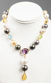 18K Gold, Mixed Pearls & Colored Stone Necklace