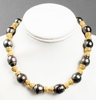 18K Gold & Tahitian Baroque Black Pearl Necklace