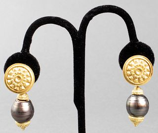 Kanaris 18K Gold & Tahitian Baroque Pearl Earrings