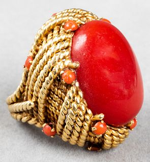 Italian 18K Yellow Gold & Coral Cocktail Ring