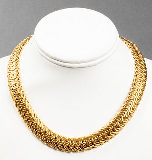 Italian 14K Yellow Gold Wide Byzantine Necklace