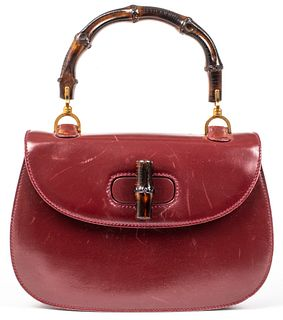 Gucci Burgundy Leather Bamboo Handle Handbag