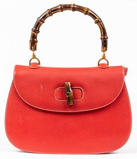 Gucci Red Leather Bamboo Handle Handbag