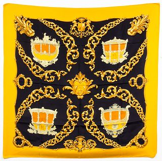 "Hermes ""Carrosses d'Or"" Silk Scarf"