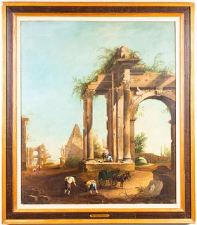 Pietro Paolini Landscape with Ruins Oil on Canvas