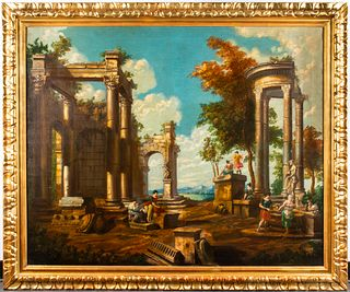 Italian School Architectural Fantasy Antique Oil