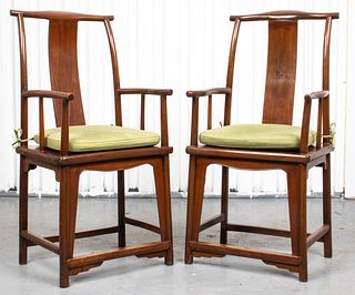 Chinese Hardwood Yoke Back Scholar's Chairs, Pair
