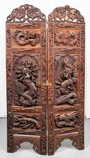 Indonesian Carved Hardwood Two Panel Screen