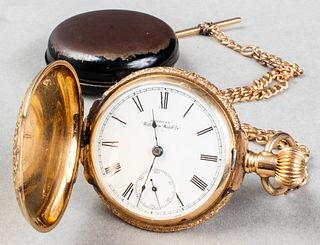 American Waltham Watch Co. 14K Pocket Watch & Fob