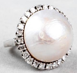 Antique 18K White Gold Diamond Mabe Pearl Ring