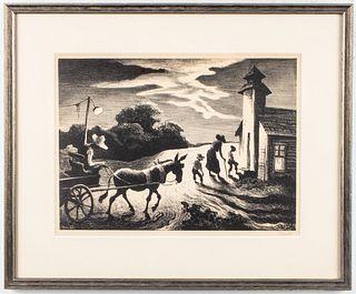"Thomas Hart Benton ""Prayer Meeting"" Lithograph"