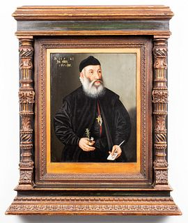 "German School ""Priest"" Oil on Panel Altarpiece"