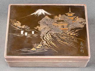 Japanese Hardwood & Silver Mount Fuji Dresser Box
