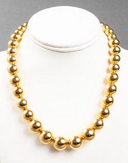 MIlor 14K Yellow Gold Graduated Ball Bead Necklace