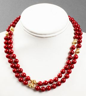 Vintage 14K Yellow Gold & Red Agate Bead Necklace
