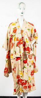 Japanese Floral Silk Awase Kimono