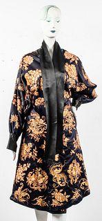 Japanese Embroidered Black Silk Robe