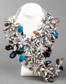 Vilaiwan Stone & Beaded Flower Motif Necklace