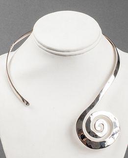 Robert Lee Morris Sterling Silver Spiral Necklace
