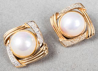 14K Yellow Gold Diamond Mabe Pearl Clip Earrings