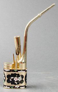 Chinese Paktong Cloisonne Enamel Water Pipe