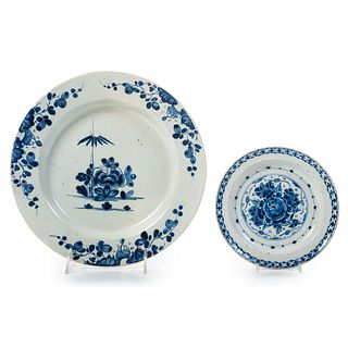 An English Delftware Chinoiserie Charger and Plate