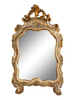 A Venetian Rococo Style Parcel-Gilt and Painted Easel Mirror Height 30 x width 16 1/2 inches.