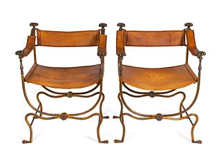 A Pair of Italian Renaissance Style Wrought-Iron Savanarola Chairs Height 36 1/2 x width 26 x depth 20 inches.