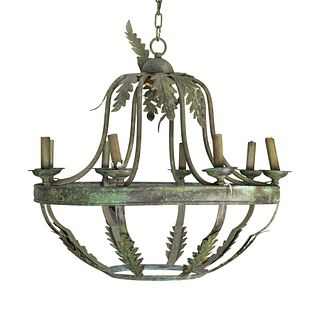 A Pair of Italian Baroque Style Grey-Patinated Iron Eight-Light Chandeliers Height 28 x diameter 30 inches.