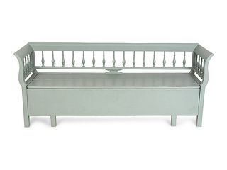 A Swedish Painted Bench Height 31 x length 77 x depth 21 inches.