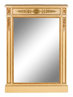 A Pair of Neoclassical Style Parcel-Gilt and Cream-Painted Mirrors Height 54 1/2  x width 39 inches.